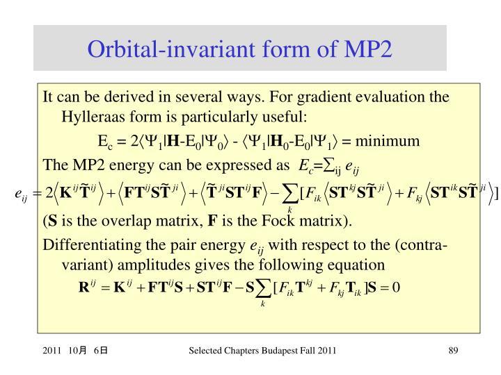 Orbital-invariant form of MP2