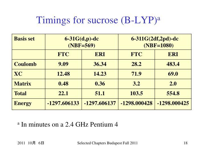 Timings for sucrose (B-LYP)