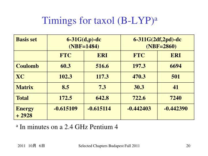 Timings for taxol (B-LYP)