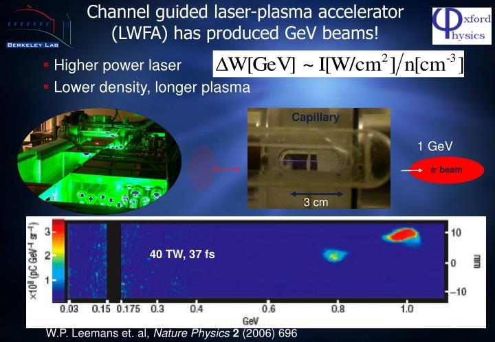 Channel guided laser-plasma accelerator (LWFA) has produced GeV beams!