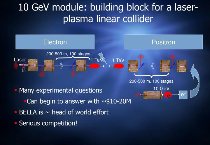 10 GeV module: building block for a laser-plasma linear collider