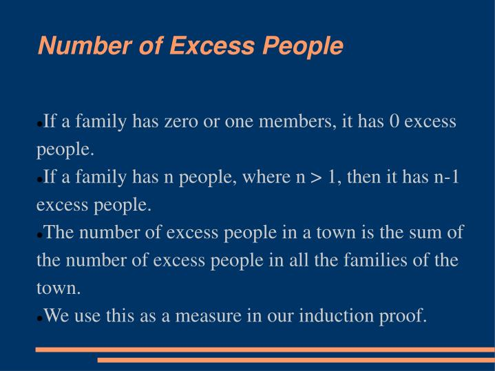 If a family has zero or one members, it has 0 excess people.