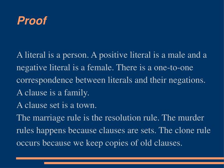 A literal is a person. A positive literal is a male and a negative literal is a female. There is a one-to-one correspondence between literals and their negations.