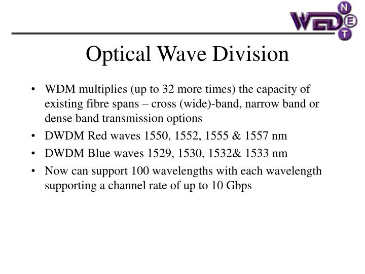 WDM multiplies (up to 32 more times) the capacity of existing fibre spans – cross (wide)-band, narrow band or dense band transmission options