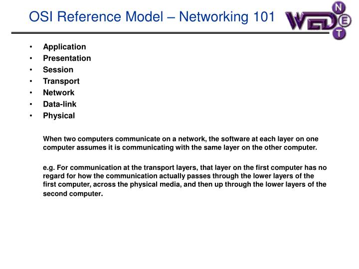 Osi reference model networking 101