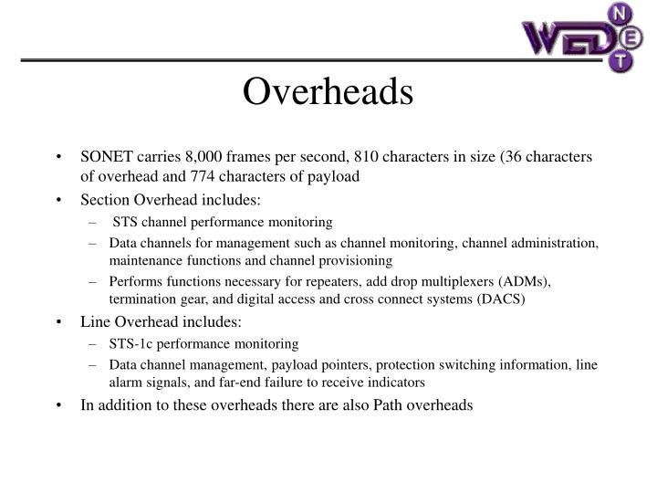 SONET carries 8,000 frames per second, 810 characters in size (36 characters of overhead and 774 characters of payload
