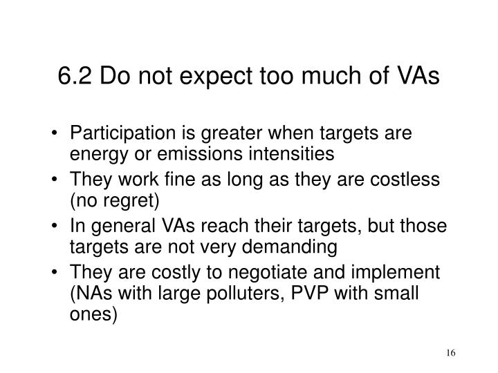 6.2 Do not expect too much of VAs