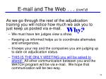 e mail and the web cont d