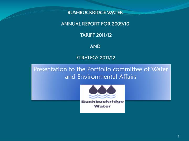 presentation to the portfolio committee of water and environmental affairs n.