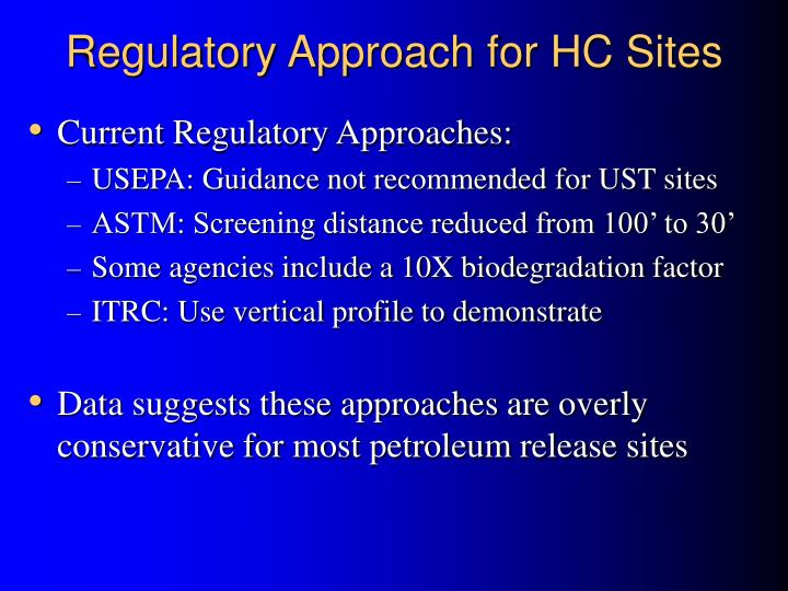 Regulatory Approach for HC Sites