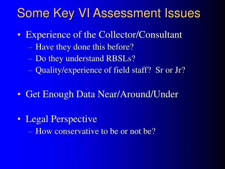 Some Key VI Assessment Issues