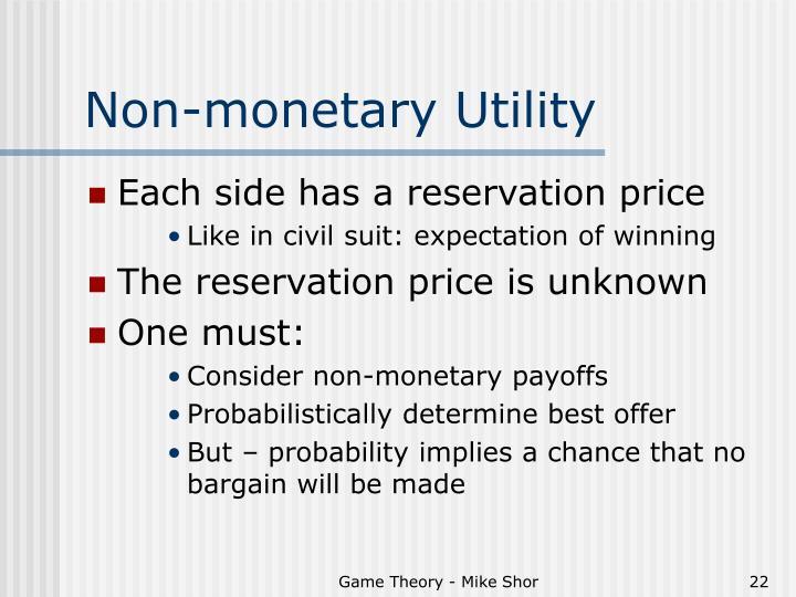 Non-monetary Utility