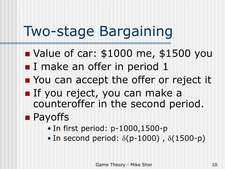Two-stage Bargaining