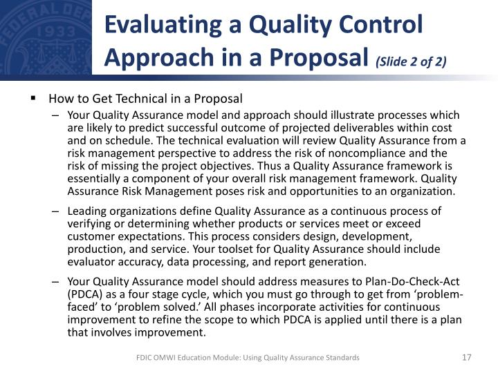 Evaluating a Quality Control Approach in a Proposal