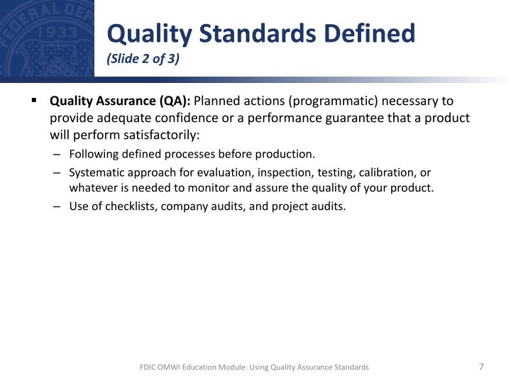 Quality Standards Defined