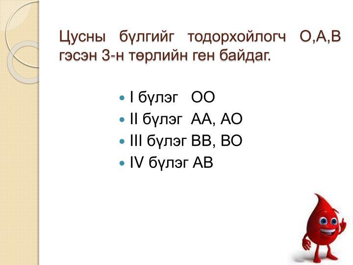 Цусны бүлгийг тодорхойлогч О,А,В гэсэн 3-н төрлийн ген байдаг.