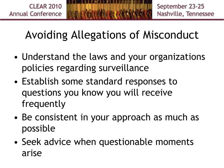 Avoiding Allegations of Misconduct