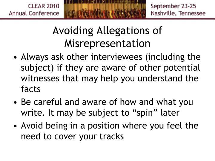 Avoiding Allegations of Misrepresentation