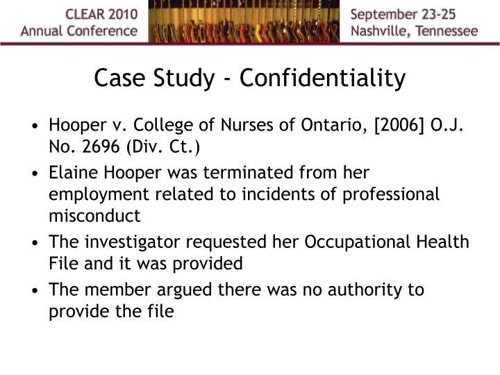 Case Study - Confidentiality