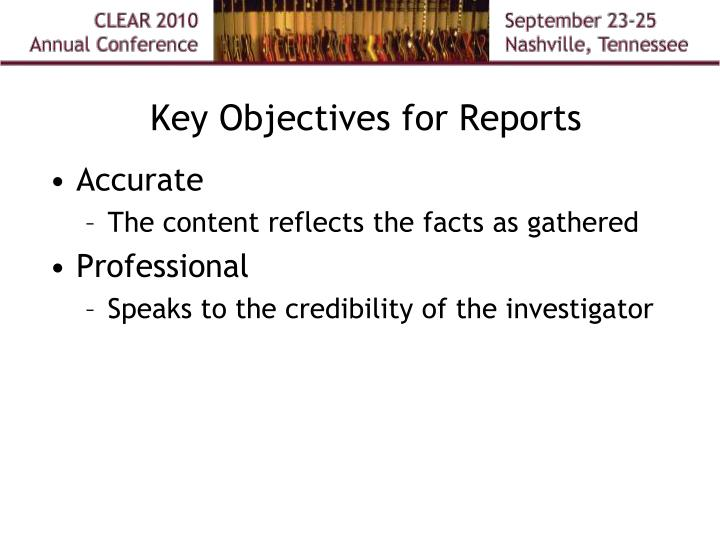 Key Objectives for Reports