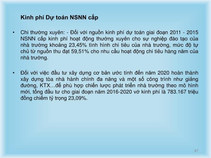 Kinh phí Dự toán NSNN cấp