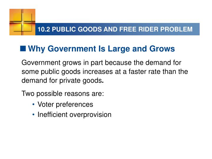 10.2 PUBLIC GOODS AND FREE RIDER PROBLEM