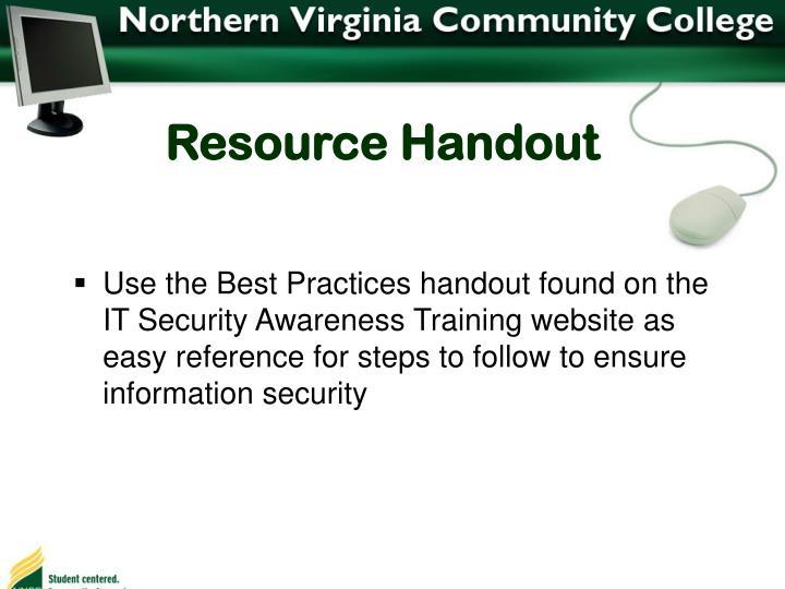 Resource Handout