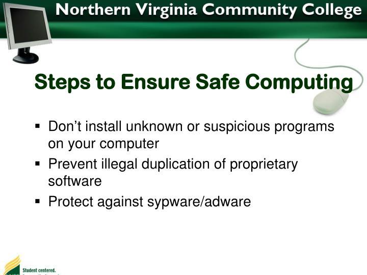 Steps to Ensure Safe Computing
