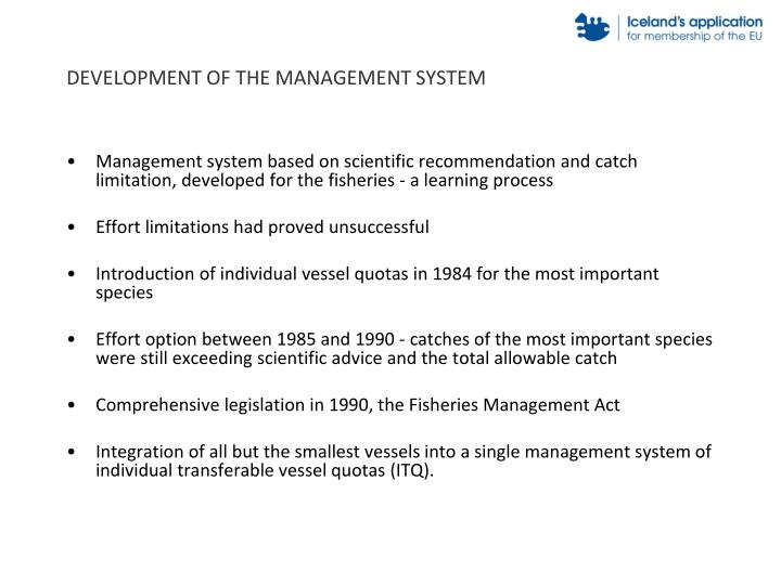 Development of the management system