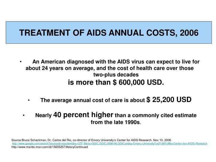 TREATMENT OF AIDS ANNUAL COSTS, 2006