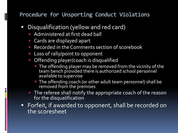 Procedure for Unsporting Conduct Violations