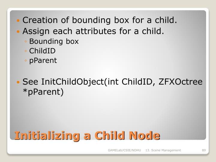 Creation of bounding box for a child.
