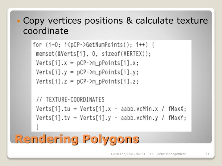 Copy vertices positions & calculate texture coordinate