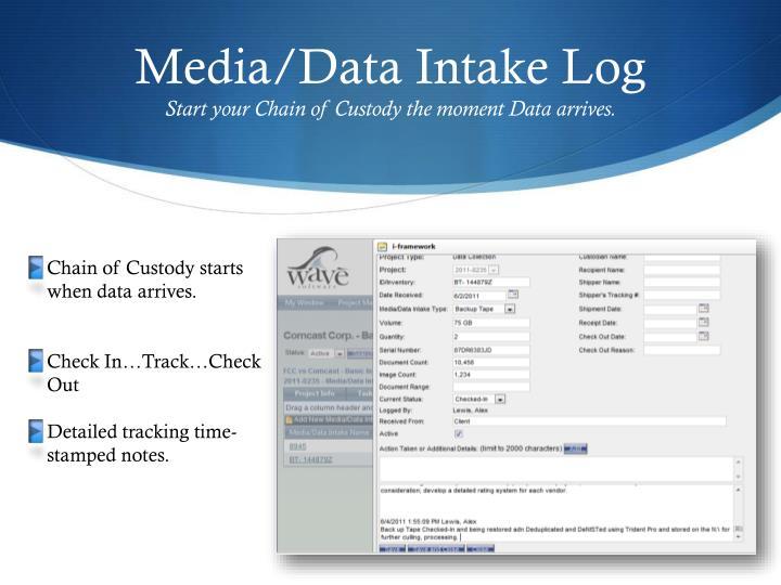 Media/Data Intake Log