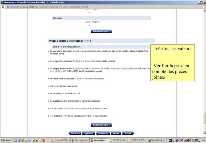 - Vérifier les valeurs