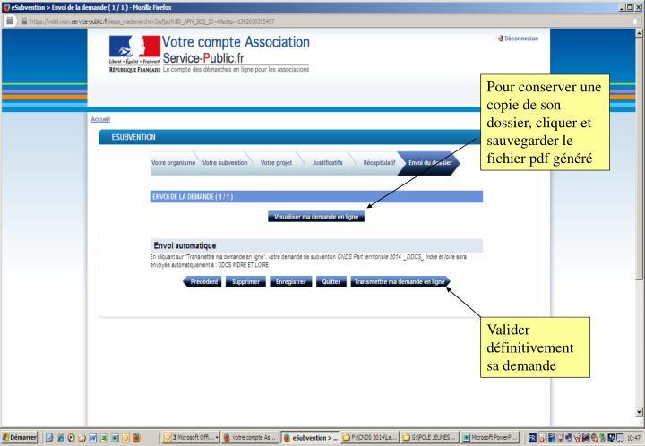 Pour conserver une copie de son dossier, cliquer et sauvegarder le fichier pdf généré