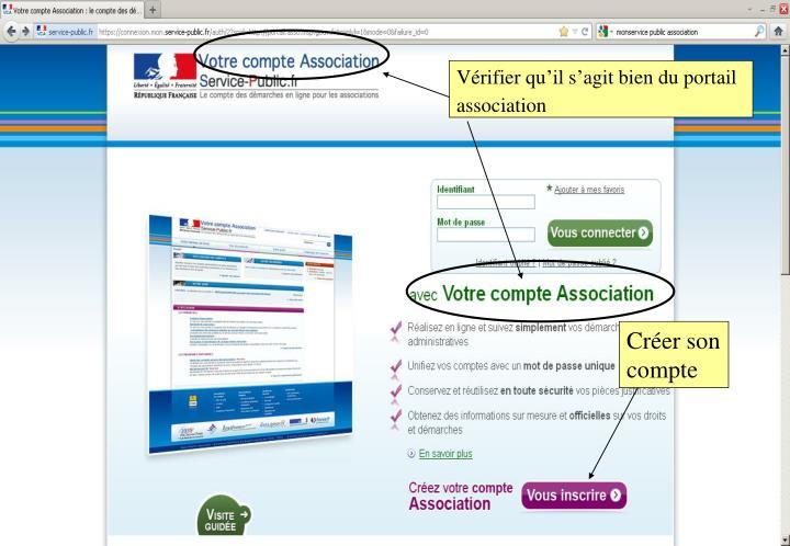Vérifier qu'il s'agit bien du portail association