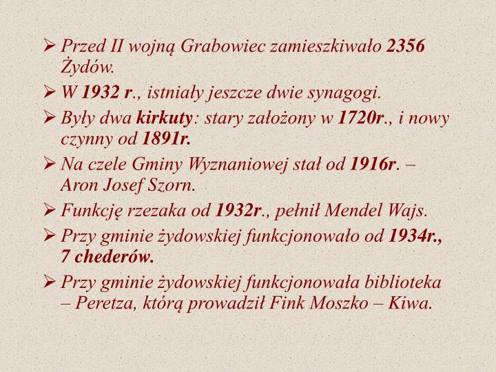 Przed II wojną Grabowiec zamieszkiwało