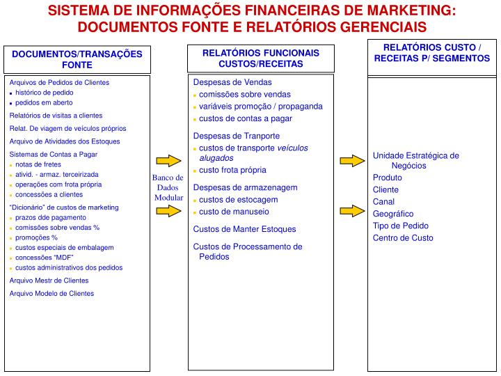 SISTEMA DE INFORMAÇÕES FINANCEIRAS DE MARKETING: DOCUMENTOS FONTE E RELATÓRIOS GERENCIAIS