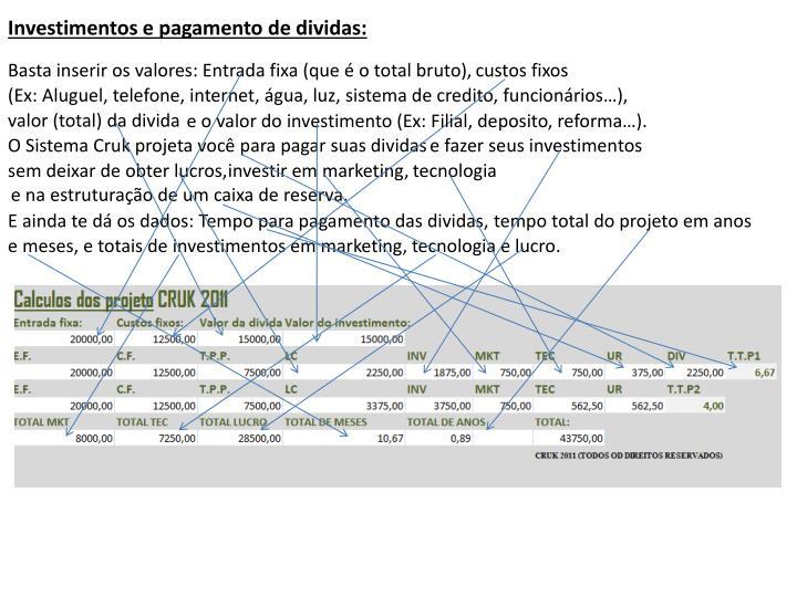 Investimentos e pagamento de dividas: