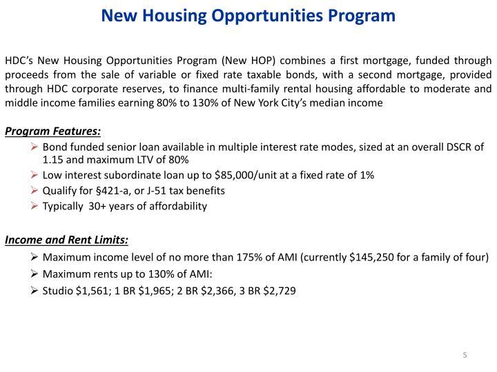New Housing Opportunities Program