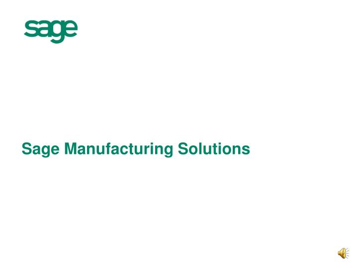 sage manufacturing solutions n.