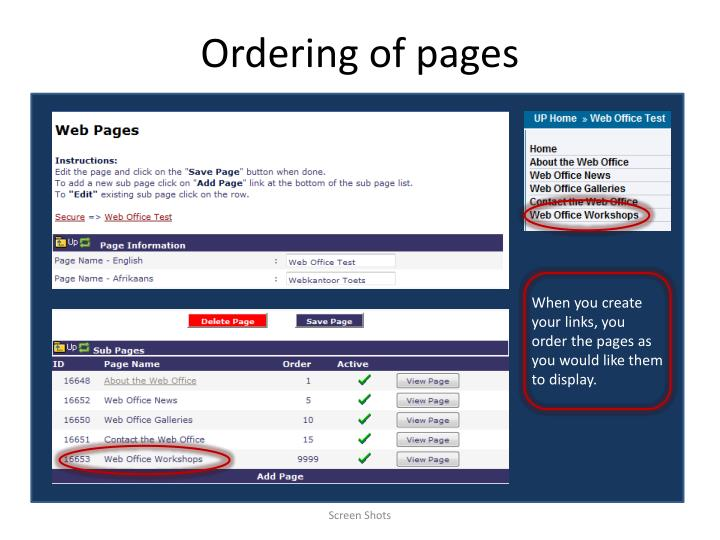 ordering of pages