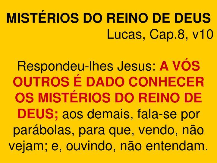 MISTÉRIOS DO REINO DE DEUS