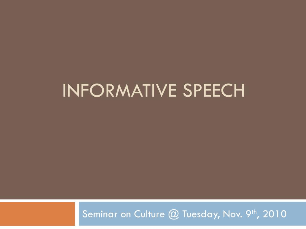 informative speech on culture