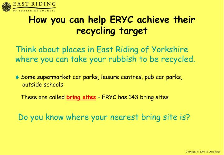 How you can help ERYC achieve their