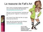 le reasone de fafi s art