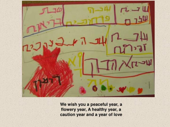 We wish you a peaceful year, a flowery year, A healthy year, a caution year and a year of love