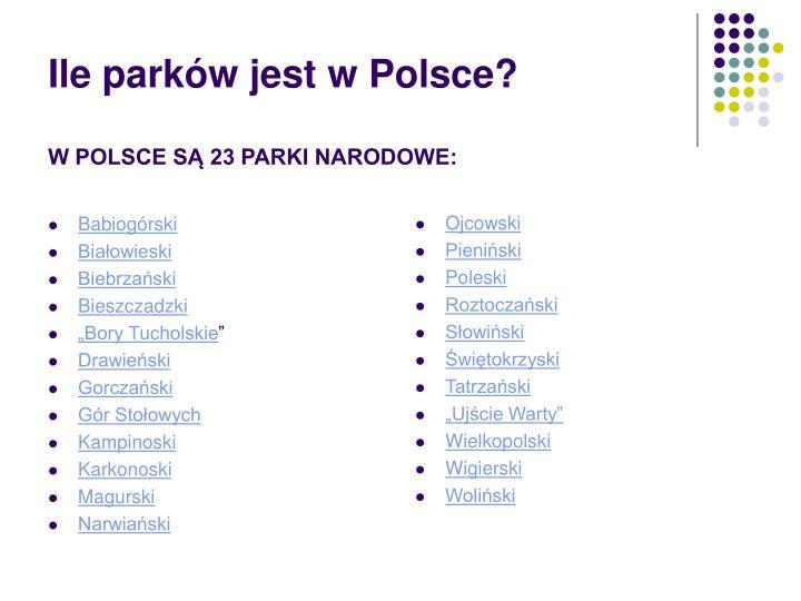 Ile park w jest w polsce w polsce s 23 parki narodowe