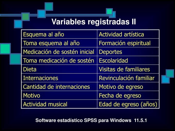 Variables registradas II